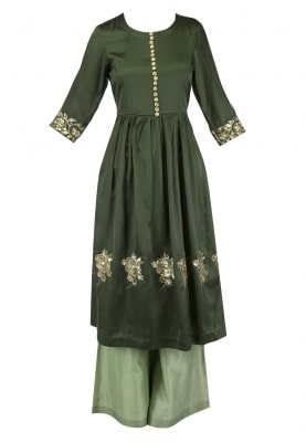 Seaweed Green Embroidered Tunic with Flared Pants Set