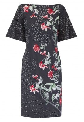 Black Chameleon Print Embellished Dress