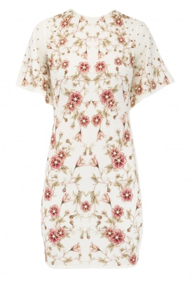White Rose Print Embroidered Dress
