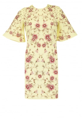 Yellow Rose Print Embroidered Dress