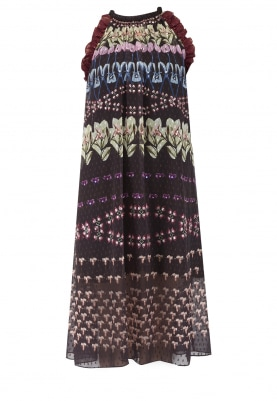 Multi-Color Rope Neck Embellished Midi Dress