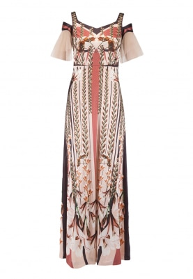Peach Cinced Print Long Gown