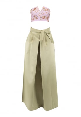 Mauve Rose Print Embellished Corset with Olive Green Skirt
