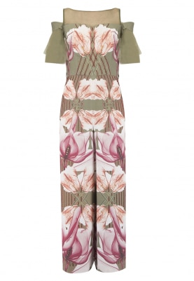 Military Green Hibiscis Print Jumpsuit