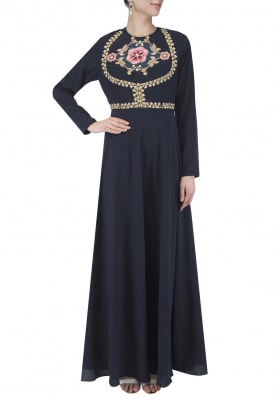 Deep Blue Printed Patchwork Anarkali