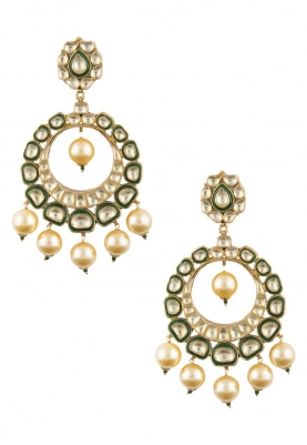 Gold Plated Kundan and Green Enamel Chandbali Earrings