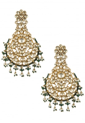 Gold Plated Kundan and Green Beads Chandbali Earrings