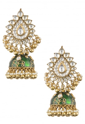Gold Plated Kundan and Ghunghroo Studded Earrings