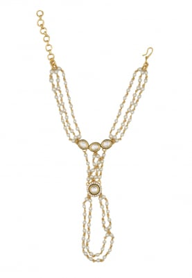 Gold Plated Baby Pearls Multi Chain Hath Phool