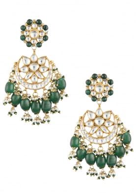 Gold Plated Kundan and Green Stone Chandbali Earrings