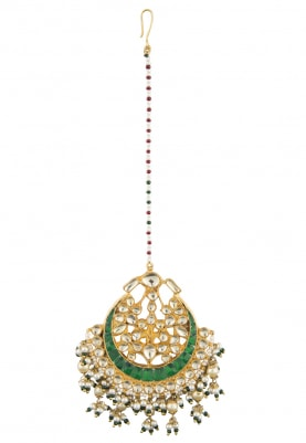 Gold Plated Kundan Studded Crescent Maang Tikka