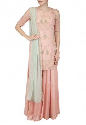 Blush Pink Kurta Sharara, Dupatta Set