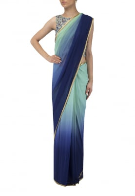 Mint Navy Blouse and Mint Navy Shaded Sari