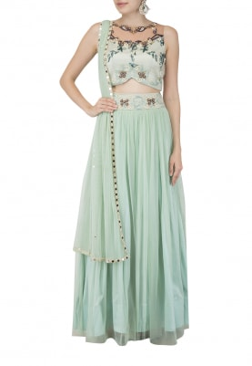 Mint Blue Lehenga Blouse and Dupatta
