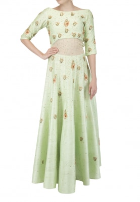 Pistachio Anarkali with Dupatta
