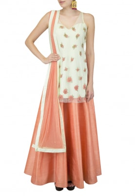 Pistachio Ros Embroidered Net Kurta and Dupatta with Fresh Coral Lehenga
