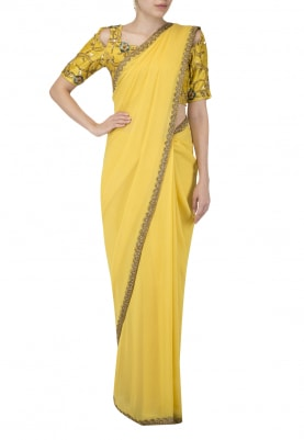 Amber Yellow Nouveau Embroidered Blouse Sari Set