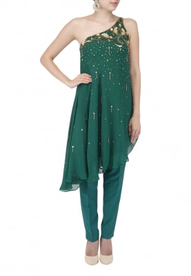 Teal Nouveau Embroidered One Shoulder Tunic with Straight Fit Pants and Dupatta
