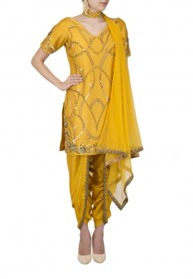 Amber Yellow Nouveau Embroidered Kurta Dhoti Set