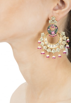 Gold Plated Kundan, Blue and Pink Enamelled Earrings
