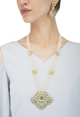 Gold Plated Kundan and Silver Enamel Long Necklace