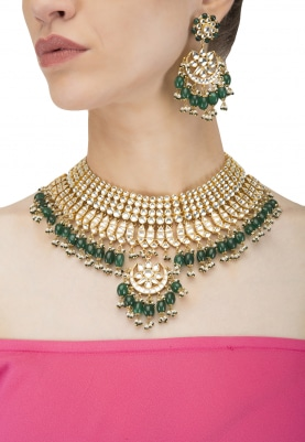 Gold Plared Kundan and White Beads Studded Bridal Necklace Set