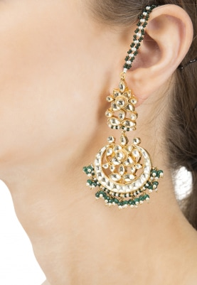 Gold Finish Kundan and Pearl Beads Chandbali Earrings