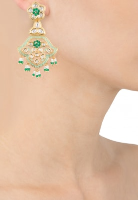 Gold Finish Kundan and Mint Green Enamelled Chandbali Earrings