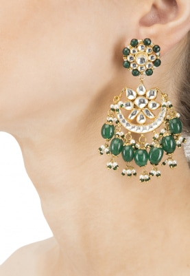 Gold Plated Kundan and Green Stone Chandbali Earrings