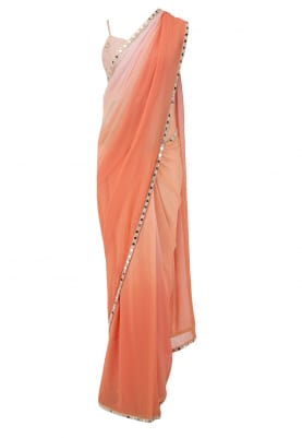 Blush Pink Crop Top, with Ombre Tangerine Saree