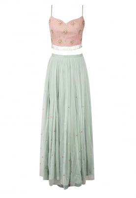 Mint Blue Skirt with Blush Pink Crop Top and Dupatta