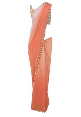 Nude Blouse, with Shaded Blush Sari