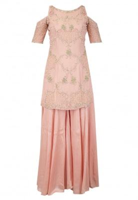 Blush Pink Kurta Sharara, Dupatta Set