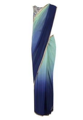 Mint Navy Blouse and Mint Navy Shaded Sari