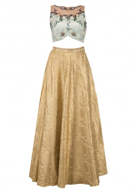 Mint Blue Blouse, Gold Skirt and Dupatta