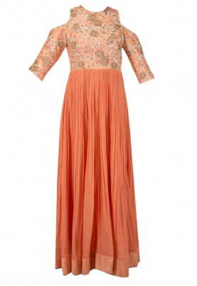 Fresh Coral Ros Embroidered Gown