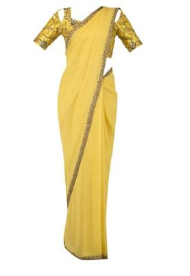 Amber Yellow Nouveau Embroidered Blouse Sari Set