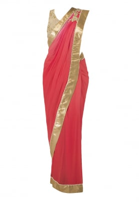 Pearl Work Gold Blouse and Shaded Sari