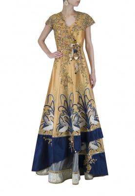 Gold and Blue Jacket Lehenga