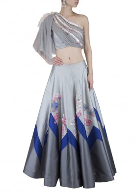 Grey and Blue Lehenga and Blouse