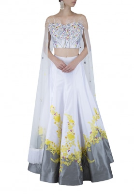 White and Grey Lehenga, Choli with Attached Cape Like Dupatta