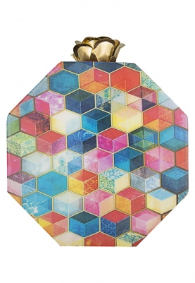 Multicolor Hexagon Print Clutch