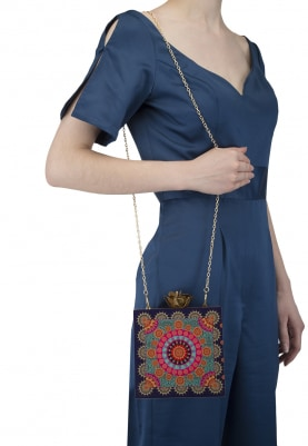 Royal Blue Base Multicolor Rangoli Print Clutch