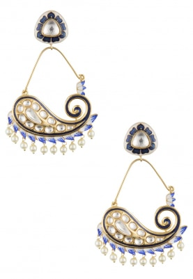 22k Gold Finish Kundan and Blue Enamelled Earrings
