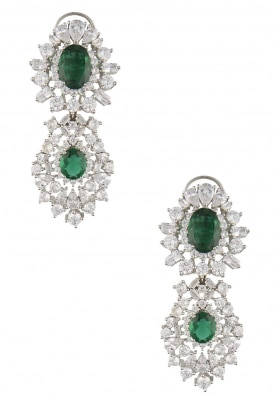 Rhodium Plated White Sapphire and Emerald Stone Earrings