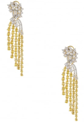 Rhodium and 22k Gold Finish White and Canary Sapphires Earrings