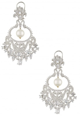 Rhodium Finish White Sapphires Crescent Earrings