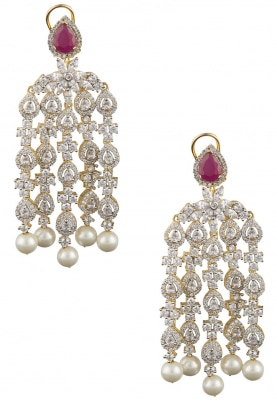 22k Gold and Rhodium Finish White Sapphires and Ruby Earrings