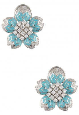 Rhodium Plated White Sapphires and Turquoise Enamel Earrings