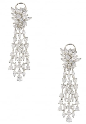 Rhodium and 22k Gold Finish White Sapphires Earrings